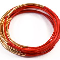 Leather Bangles Set Red, $25, now featured on Fab.