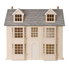 British made – MDF - Flat packed and unpainted ready for you to decorate in the style you choose. This item is suitable for new or experienced collectors and for children over 14 years of age with adult supervision. Dollhouse Kits, Wooden Dollhouse, Dolls House Shop, Pintura Exterior, Dormer Windows, Basement House, Wall Accessories, Modern Art Deco, House Inside