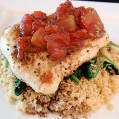 balsamic chicken with spinach and cous cous