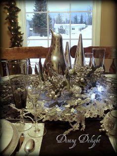 Dining Delight: A Shiny Silver Penguin Christmas Table Settings, Christmas Tablescapes, Christmas Decorations, Table Decorations, Silver Christmas, Christmas Time, Christmas Crafts, Christmas Ideas, Penguin Wedding