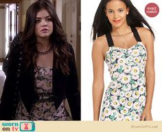 Aria's floral dress with black cropped blazer with studded shoulders and spiked necklace on Pretty Little Liars. Outfit Details: http://wornontv.net/18340