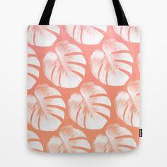 TROPIC - ROSEQUARTZ - PEACH Tote Bag #totebag #totes #tote #beachbag #beachwear #beach accessory #summeraccessory #tropical #palmleaf #monstera #trend #trending #trendy #girl #summer2016 #rosequartz #peach