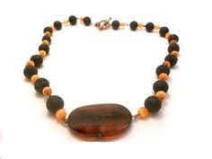 Black Tangerine tango beaded necklace  Semi by EfZinCreations, €21.00