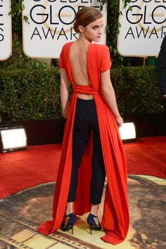 Emma Watson in Dior Couture at the Golden Globes 2014. spring, summer, fall, red dress, black leggings, black heels