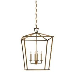 Medium Visual Comfort Darlana Lantern with Gilded Iron Finish CHC2165GI