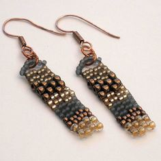 Wave Earrings Bronze Gold Gray Beaded Freeform Peyote Gifts under 10 Beaded Earrings, Earrings Handmade, Beaded Bracelets, Beaded Jewelry Designs, Seed Bead Jewelry, Seed Bead Earrings, Creations, Jewelry Making, Crystals