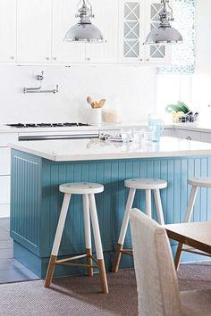 Seven stunning non-white kitchens Bar Stools, White Kitchens, Table, Kitchen Designs, Kitchen Ideas, Inspiration, Furniture, Australia, Interiors