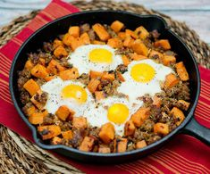 Grilled chicken, steak, or turkey would work well in this one-pan sweet potato hash with eggs.