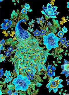 Plume Royal Peacocks Fabric - eQuilter