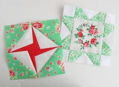 Great use of fussy prints mixed with crisp solids - Farmer's Wife sampler quilt blocks.