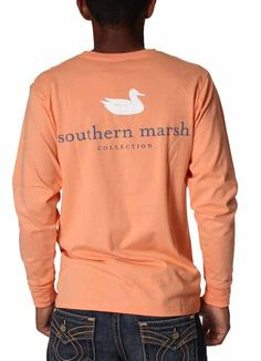 Long Sleeve Authentic Shirt in Melon by Southern Marsh