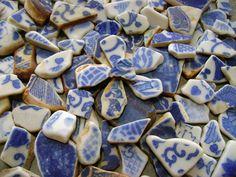 Blue White Patterns - Genuine Sea China Pottery Shards - Beach Mosaic Art Supply. via Etsy.