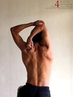 Arm overhead shoulder stretch, triceps stretch,  neil keleher, sensational yoga poses.
