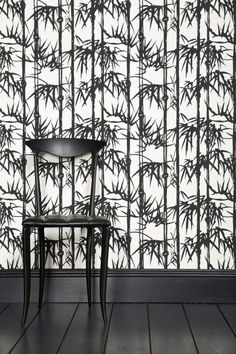 Bamboo by Farrow & Ball - Black and white - Wallpaper : Wallpaper Direct Floral Print Wallpaper, Botanical Wallpaper, Trendy Wallpaper, Colorful Wallpaper, Floral Prints, Tropical Wallpaper, Leaf Prints, Farrow Ball, Farrow And Ball Paint