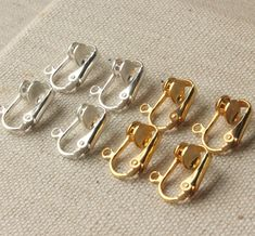 Clip on earring converter Gold and silver findings clip