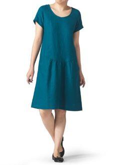 Vivid Linen Short Sleeve Calf-Length Dress-M-Teal Vivid Linen,http://www.amazon.com/dp/B00FZMCSNA/ref=cm_sw_r_pi_dp_7llzsb19EGFDTFWY