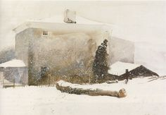 First Snow (Study, Groundhog Day) by Andrew Wyeth, 1959