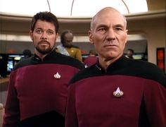 """BEST TV BRO-MANCES: # 3: Star Trek: The Next Generation. Jean-Luc Piccard and William Riker/Patrick Stuart and Jonathan Frakes. """"I'm Gonna Be Your 'Number One'!"""""""