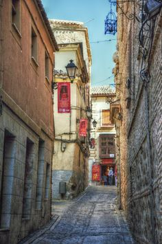 "This is know as the Calle de Rojas or ""Red Street"". Places To Travel, Places To See, Madrid, Toledo Spain, Spain Images, Photography Tours, Medieval Town, Spain And Portugal, Travel Images"