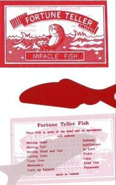Fortune Telling Fish & meanings (I got one in a Christmas cracker around 1970s Childhood, My Childhood Memories, Childhood Toys, Best Memories, Retro Toys, Vintage Toys, I Remember When, Ol Days, My Memory