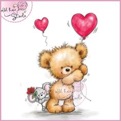 Wild Rose Studio Clear Stamp - Teddy and Mouse