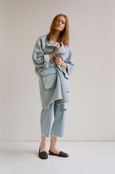 The Color In-Between: Raquel Allegra Denim Trench Coat, Men's Tee, and Denim Culottes; Riudavets Avarca Sandal