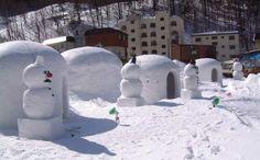 雪だるま (snowmen) with kamakura