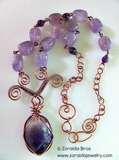 Amethyst  Copper Purple Necklace #handmade #jewelry