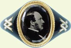 Queen Victoria (Alexandrina Victoria) (1819-1901) & Prince Albert (Albert Francis Charles Augustus Emmanuel) (1819-1861). A mourning ring after the death of Albert that Victoria had made & wore for the rest of her life.