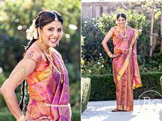 south indian bride in fuschia orange sari  courtesy B photography  www.shaadibelles.com Wedding Sari, Long Braids, South Indian Bride, Before Us, Saris, Bridal Style, Indian Jewelry, Indiana, Desi