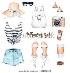 Illustrazione stock 681562528 a tema Watercolor Illustration Hand Painted Clothes Set Watercolor Illustration, Digital Illustration, Painted Clothes, Summer Outfits, Summer Clothes, Outfit Sets, Victoria, Hand Painted, Instagram