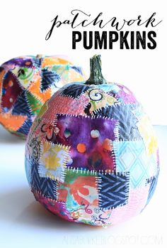patchwork pumpkins using fabric and white shapries from alisaburke