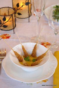 Langostinos con kikos y salsa de mango al curry