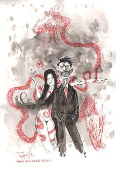 Ben Templesmith - Wormwood Gentleman Corpse and Medussa Comic Art