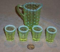 Fenton Miniature Topaz Opalescent Hobnail Vaseline Glass Lemon Aid Pitcher Set $57.99 by tamera
