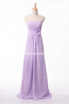 Simple Long Chiffon Bridesmaid Dress with  3-D Flower Accented - Alice #Purple #Bridesmaid #Alice