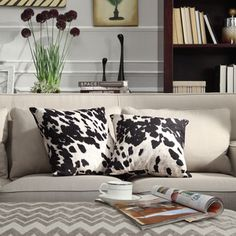 Black and White Cow Hide Print Decorative Pillow (Set of 2)  2 for $40 - polyester filling 18x18