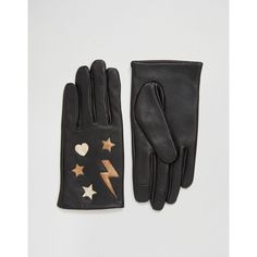 ASOS Leather Star & Lightning Bolt Metallic Gloves ($32) ❤ liked on Polyvore featuring accessories, gloves, black, asos, asos gloves, metallic gloves and leather gloves