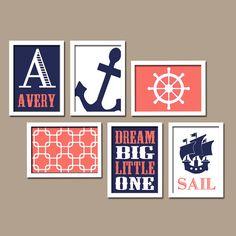Nautical Wall Art Canvas Nursery Artwork Coral Navy Blue Sail Ocean Sea Anchor Dream Custom Name Set of 6 Prints Baby Decor Crib