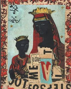 Last day of Black History Month. The style of the faces for these two was inspired by the magnificent Kerry James Marshall. #drawing #ravizupa #kerryjamesmarshall #blackhistorymonth #jesus #mary