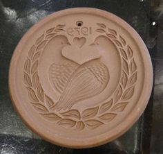 Cookie Mold - Doves Lovebirds Round - 1979 Hartstone Clay USA Pottery