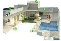 A casa tem 150 m², mas conta com uma boa piscina, área com churrasqueira e sala de jantar aberta para o lazer