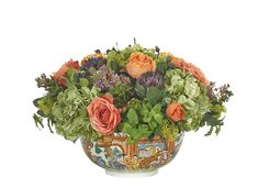 Rose, Hydrangea, Mint (OF343): Rose Hydrangea, Orange Green, Porcelain Bowl, 20wx20dx14h