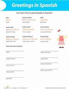 Fourth Grade Spanish Foreign Language Worksheets: Greetings in Spanish Preschool Spanish, Spanish Lessons For Kids, Spanish Basics, Spanish Lesson Plans, Spanish Activities, Spanish Classroom, Learn Spanish, Spanish 1, Speak Spanish