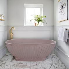 Casini Bath | BC Designs | Luxury Designer Bathrooms Interior Design Tips, Interior Inspiration, Marble Bathtub, Marble Floor, Serene Bedroom, Pink Baths, American Interior, Cool Beds, Bath Design