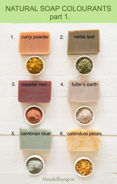 Natural soap colorants: curry powder | nettle leaf | madder root | fullers earth | cambrian blue | calendula petals