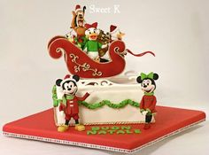 Mickey's sleigh and friends  Cake by Karla (Sweet K)