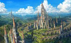 Gear by taewon hwang fantasy art landscapes, fantasy artwork, fantasy paint High Fantasy, Fantasy City, Fantasy Castle, Fantasy Kunst, Fantasy Places, Medieval Fantasy, Fantasy World, Fantasy Art Landscapes, Fantasy Landscape