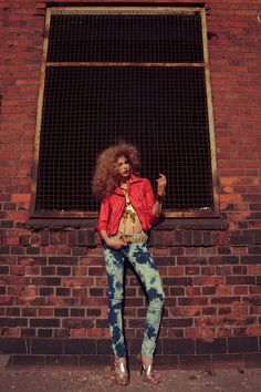 """red leather + jeans in 80s-inspired """"Urban Groove"""" fashion editorial by Sebastian Cviq"""