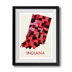 This Listing is for a beautiful Indiana map print which shows the state county divisions.  This Is a bold piece of art that will make any room. We have a variety of shades available, check out the listing images to see our choices. If you have a particular shade in mind to match your room just get in touch and we can customise, free of charge.  This map is printed using high quality cannon inks on archival paper so it will look amazing and stay that way.  This map uses OpenMap data and is…